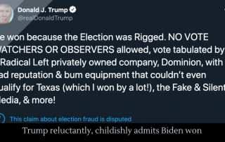 Trump reluctantly, childishly admits Biden won