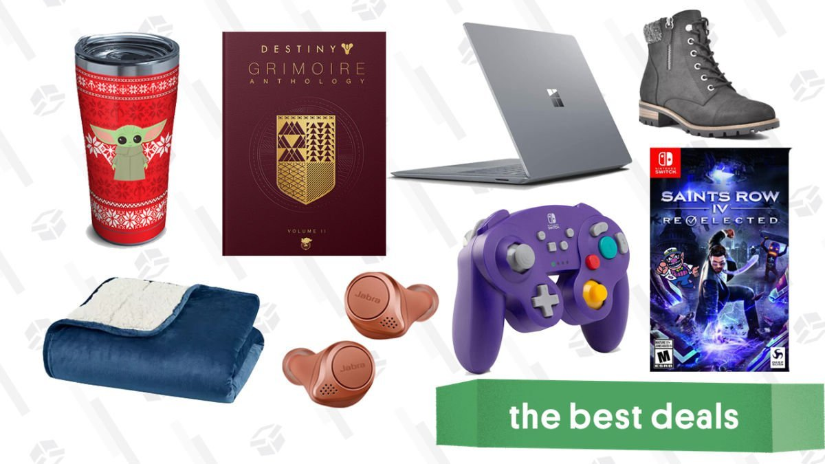 Tuesday's Best Deals: Surface Laptop 2, Baby Yoda Holiday Tumbler, Switch GameCube Controllers, Sleep Philosophy Weighted Blanket, White Mountain Booties, and More