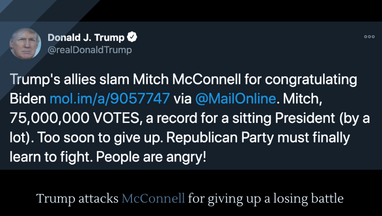 Trump attacks McConnell for giving up a losing battle