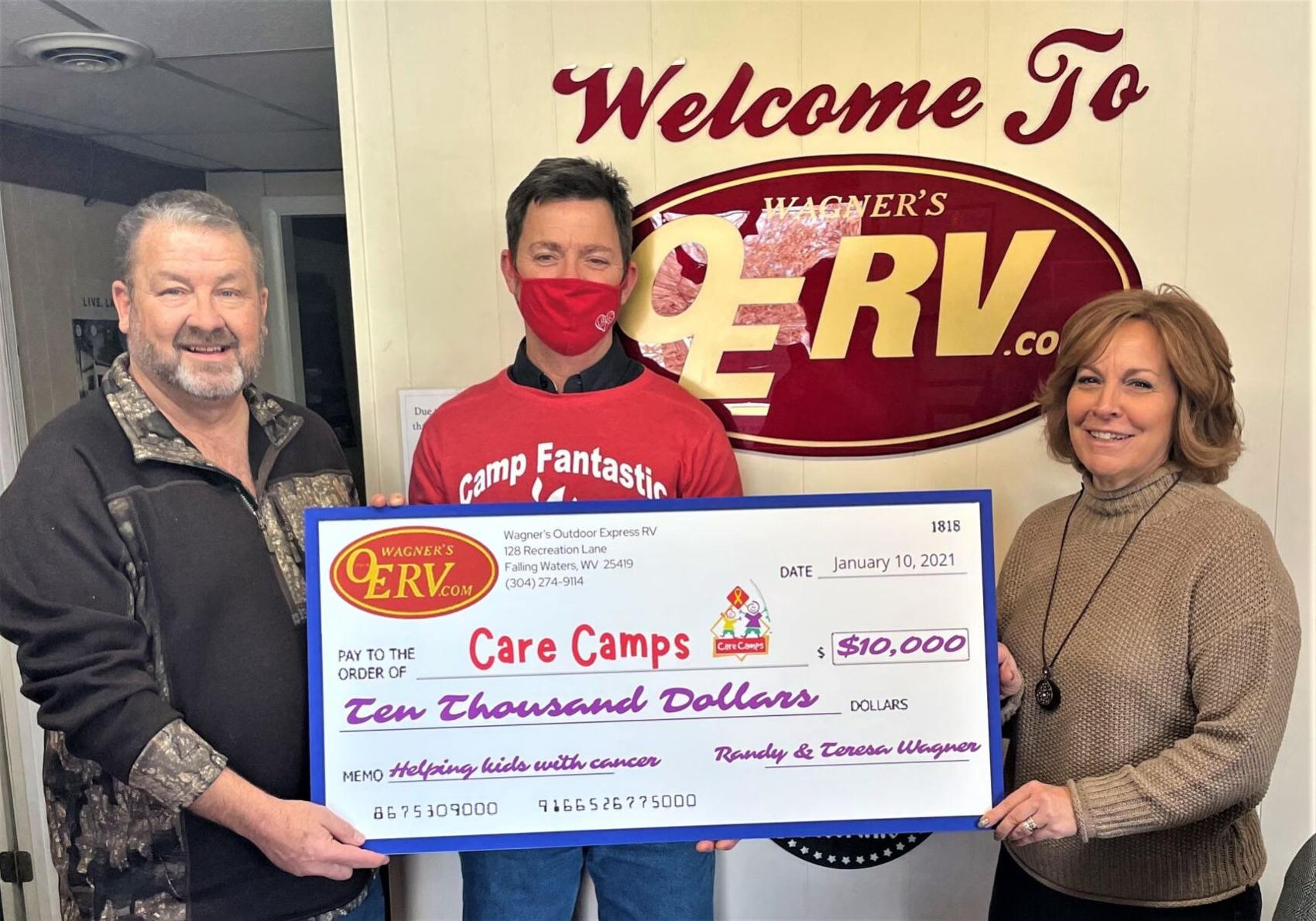 Local businessman donates contest earnings to Care Camps