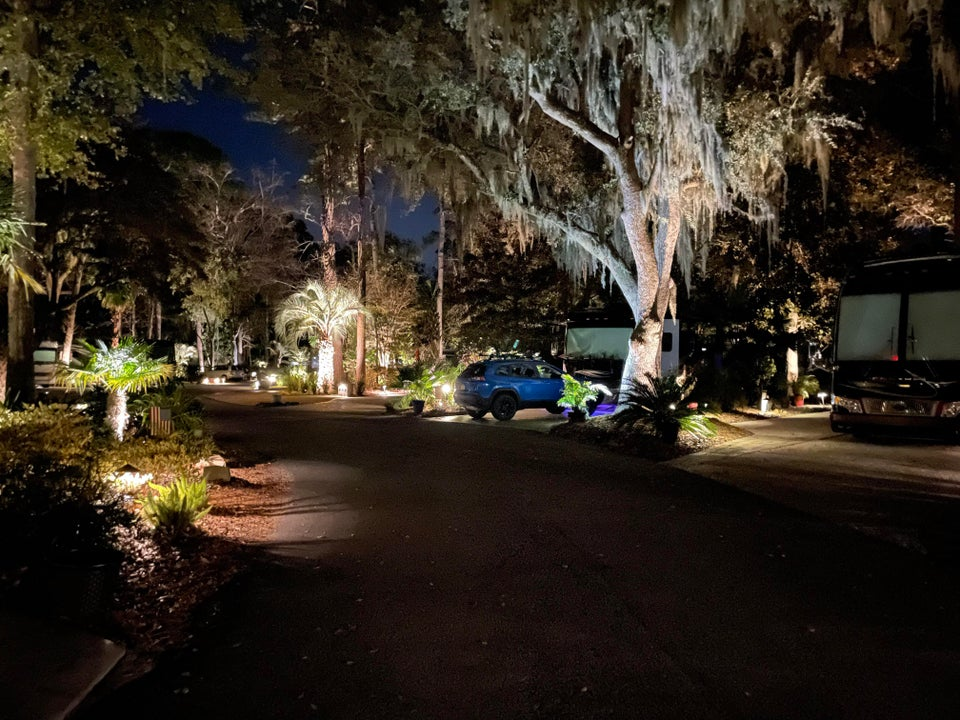 Hilton Head at night, there are worse places to wait out vaccination.