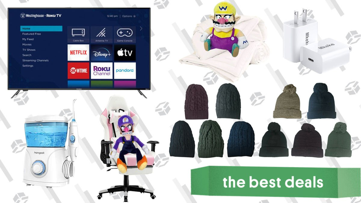 Saturday's Best Deals: 65-Inch Roku 4K TV, Water Flosser, Ergonomic Massage Gaming Chair, Knit Cap Sets, Fast iPhone 12 Charger, and More