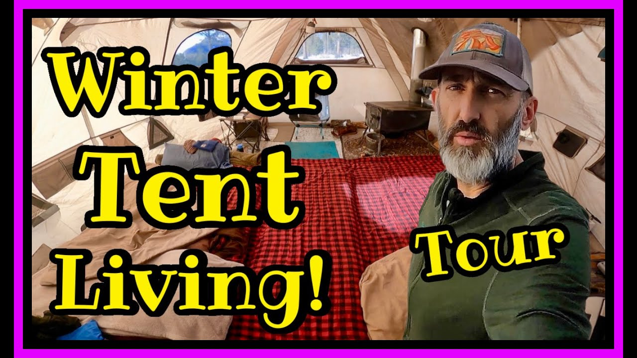 Tour of How a Nomad Lives in Tent Heated By a Woodstove in Colorado Winters