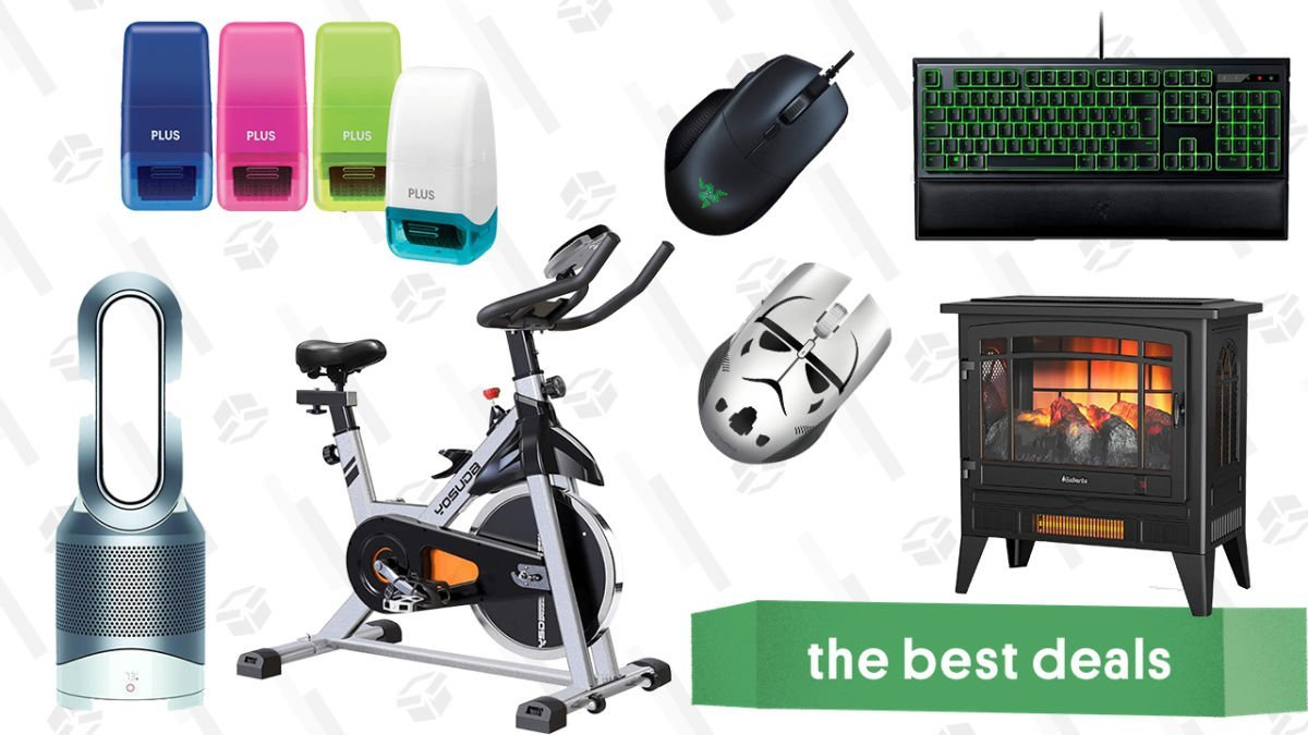 Saturday's Best Deals: Razer Accessories, Dyson Hot + Cool Air Purifier, Indoor Electric Fireplace, Yosuda Stationary Bike, Identity Guard Rolling Stamps, and More