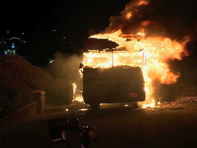 Video: RV erupts in flames at Big 5 parking lot in Paso Robles