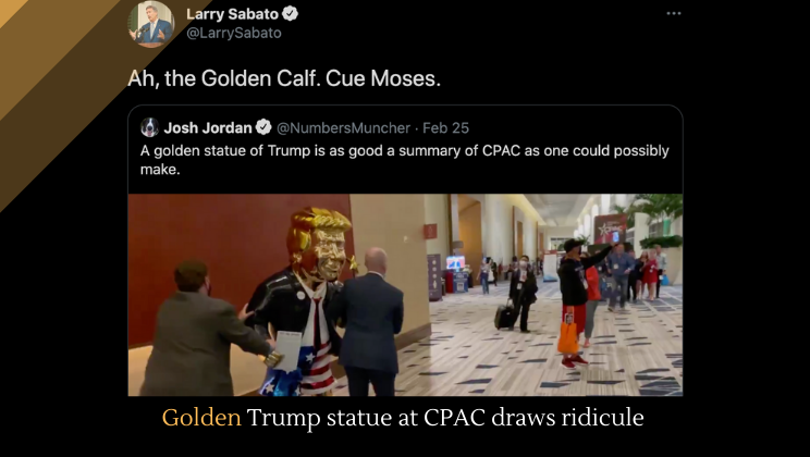 Golden Trump statue at CPAC draws ridicule
