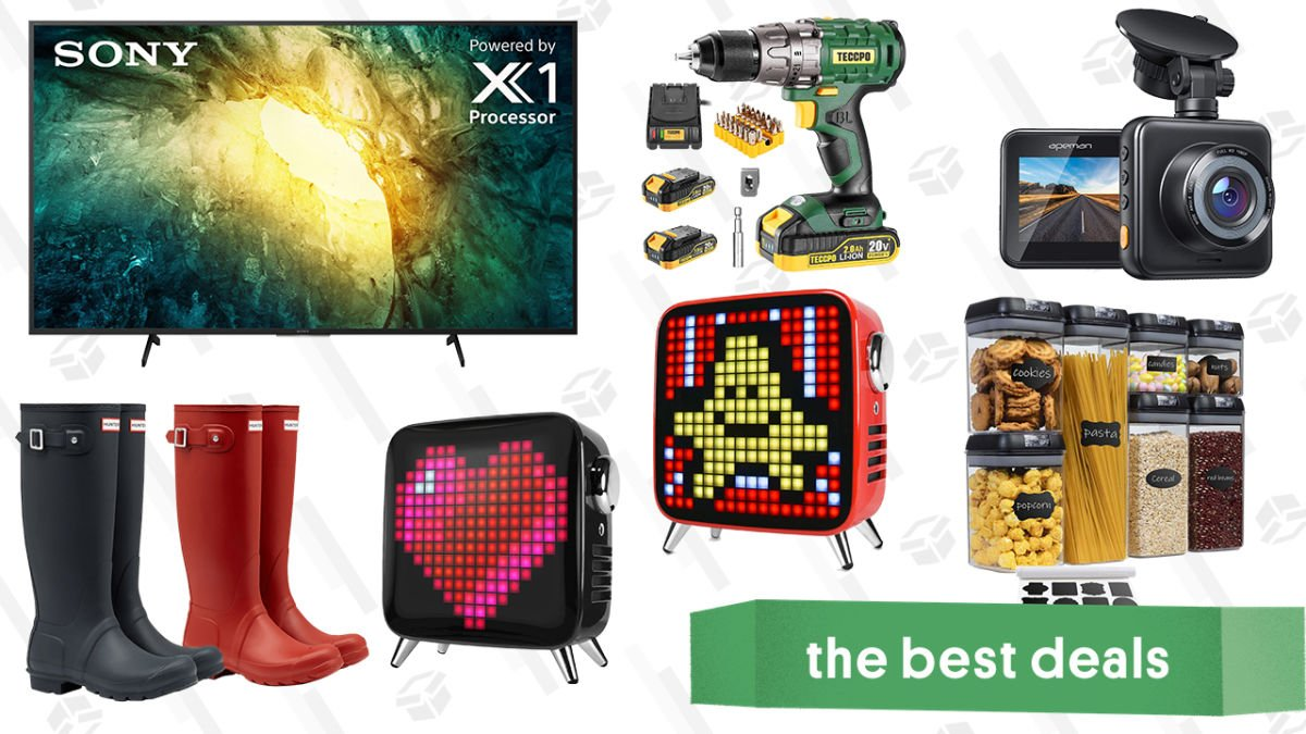 Saturday's Best Deals: Hunter Boots, Teccpo Tools, Apeman Dashcam, Sony 55″ 4K TV, Pixel Art Bluetooth Speakers, and More