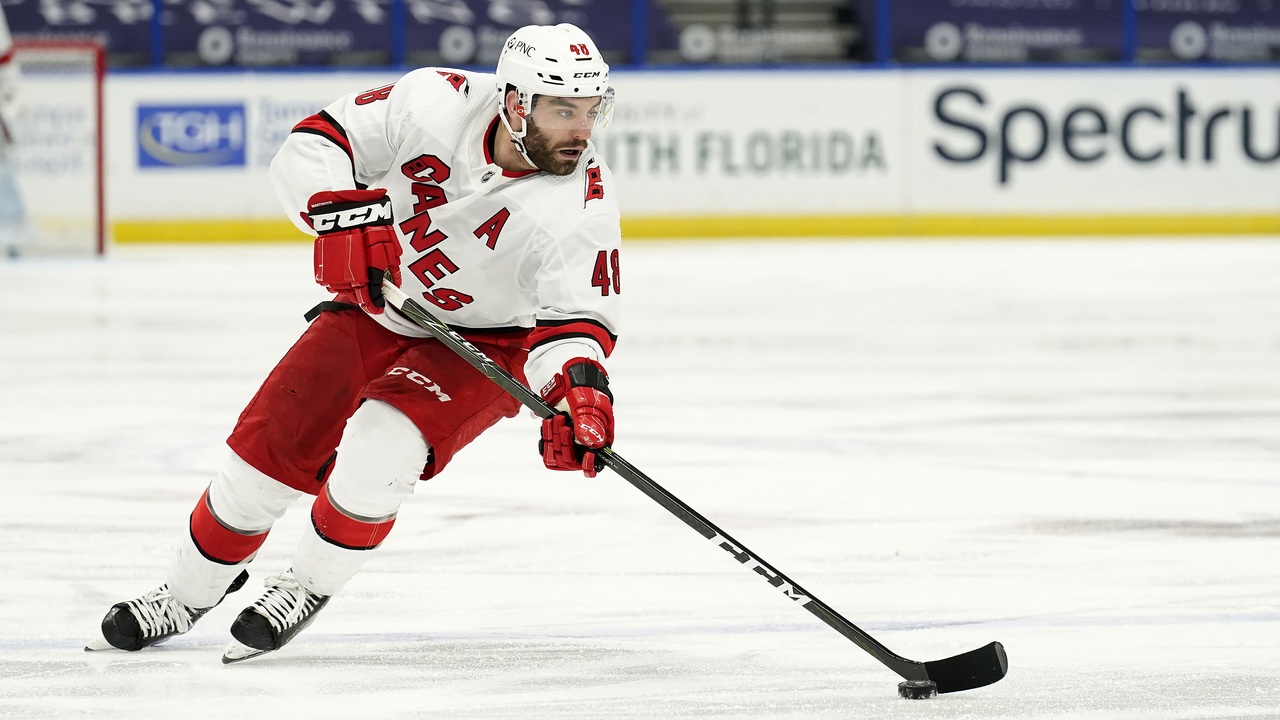 The Hurricanes' Jordan Martinook on hockey — and choosing Mark Wahlberg or Tom Brady
