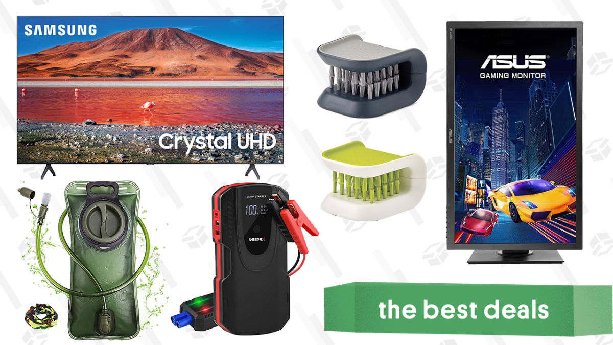 """Saturday's Best Deals: Samsung 70"""" 4K TV, Asus Gaming Monitor, Cutlery Brushes, 2L Hydration Bladder, Grepro Jump Starter, and More"""